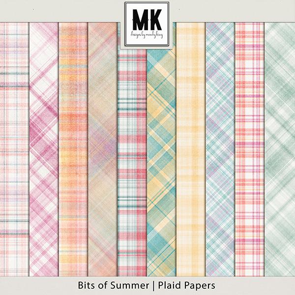Bits of Summer - Plaid Papers Digital Art - Digital Scrapbooking Kits
