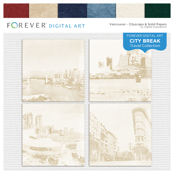 City Break - Vancouver -  Cityscape & Solid Papers Digital Art - Digital Scrapbooking Kits
