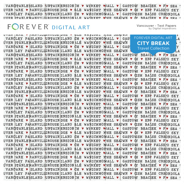 City Break - Vancouver -  Text Papers Digital Art - Digital Scrapbooking Kits