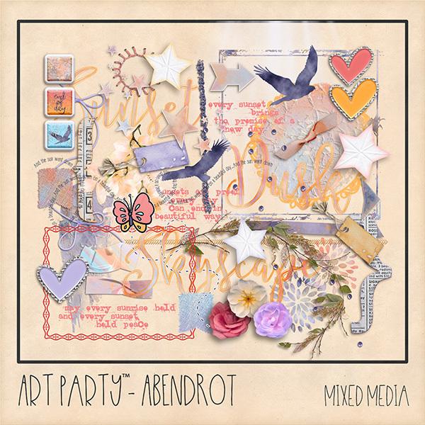 Abendrot Mixed Media Embellishments Digital Art - Digital Scrapbooking Kits