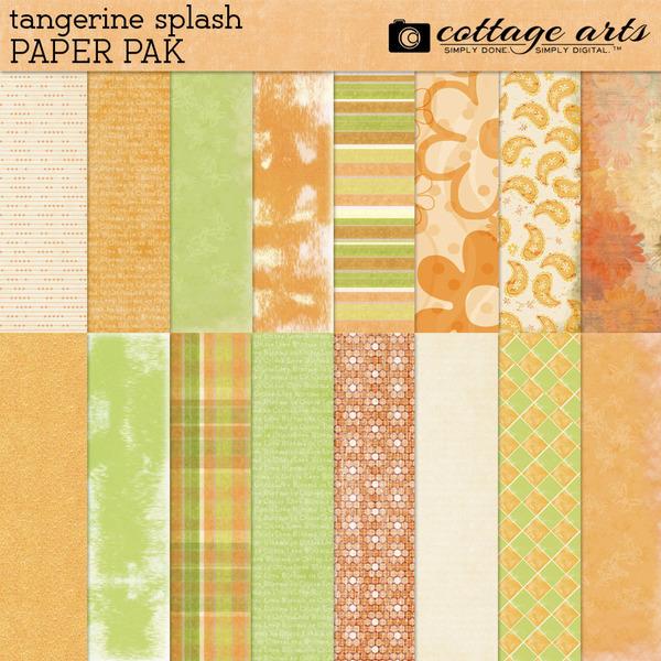 Tangerine Splash Paper Pak Digital Art - Digital Scrapbooking Kits