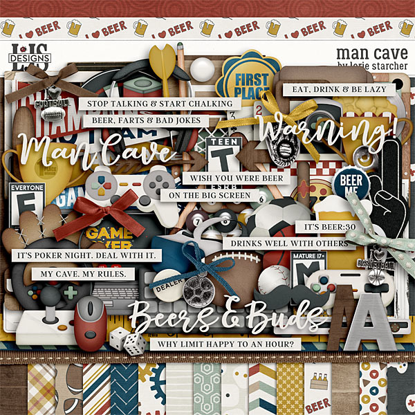 Man Cave Digital Art - Digital Scrapbooking Kits