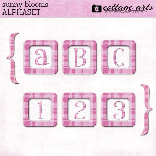 Sunny Blooms AlphaSet Digital Art - Digital Scrapbooking Kits