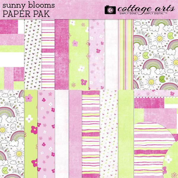 Sunny Blooms Paper Pak Digital Art - Digital Scrapbooking Kits