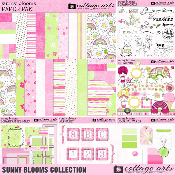 Sunny Blooms Collection Digital Art - Digital Scrapbooking Kits