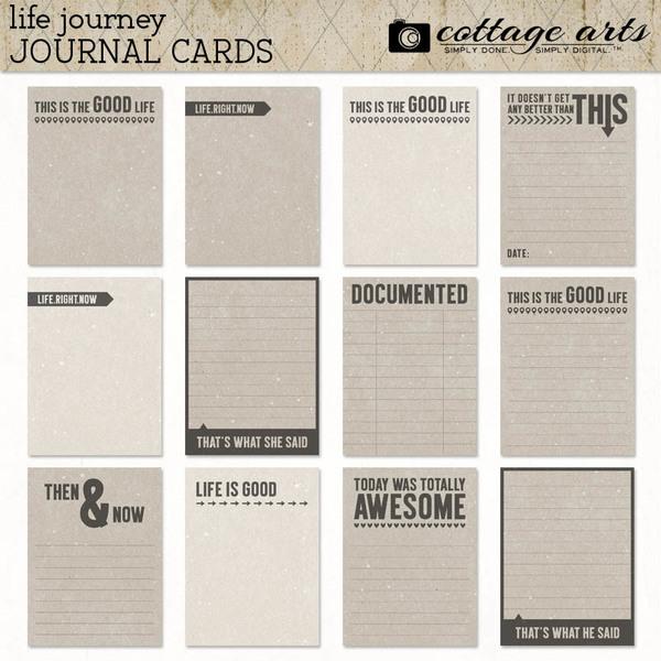 Life Journey Journal Cards Digital Art - Digital Scrapbooking Kits