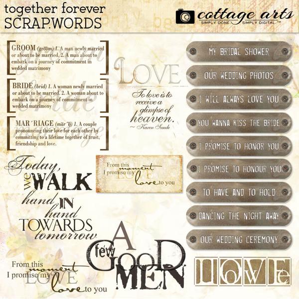 Together Forever Scrap.Words Digital Art - Digital Scrapbooking Kits
