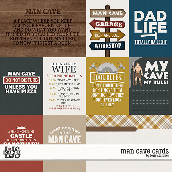 Man Cave Cards Digital Art - Digital Scrapbooking Kits