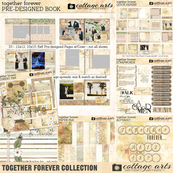 Together Forever Collection Digital Art - Digital Scrapbooking Kits
