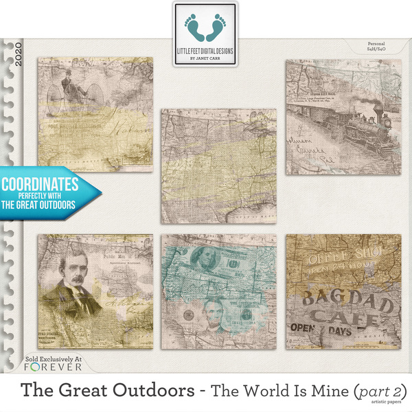 The Great Outdoors - The World Is Mine - Part 2 Artistic Papers Digital Art - Digital Scrapbooking Kits
