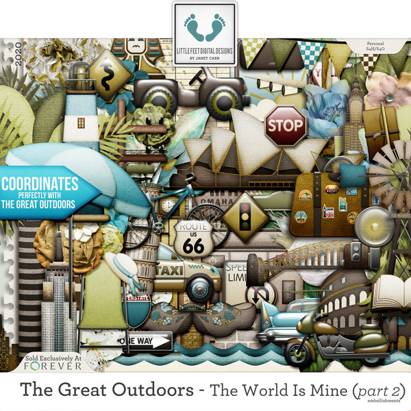 The Great Outdoors - The World Is Mine - Part 2 Embellishments Digital Art - Digital Scrapbooking Kits