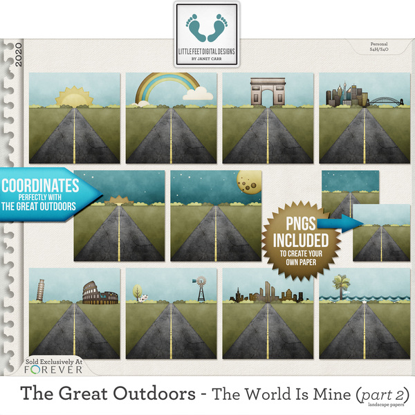 The Great Outdoors - The World Is Mine - Part 2 Landscape Papers Digital Art - Digital Scrapbooking Kits