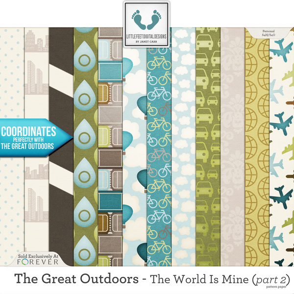 The Great Outdoors - The World Is Mine - Part 2 Pattern Papers Digital Art - Digital Scrapbooking Kits