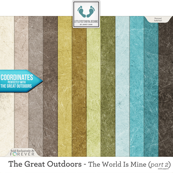 The Great Outdoors - The World Is Mine - Part 2 Solid Papers Digital Art - Digital Scrapbooking Kits