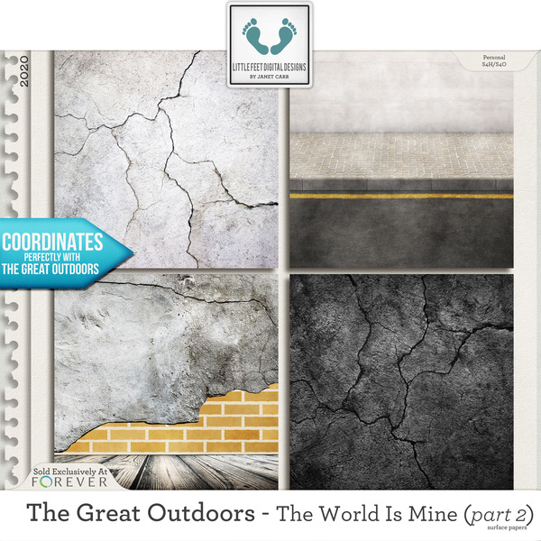 The Great Outdoors - The World Is Mine - Part 2 Surface Papers Digital Art - Digital Scrapbooking Kits