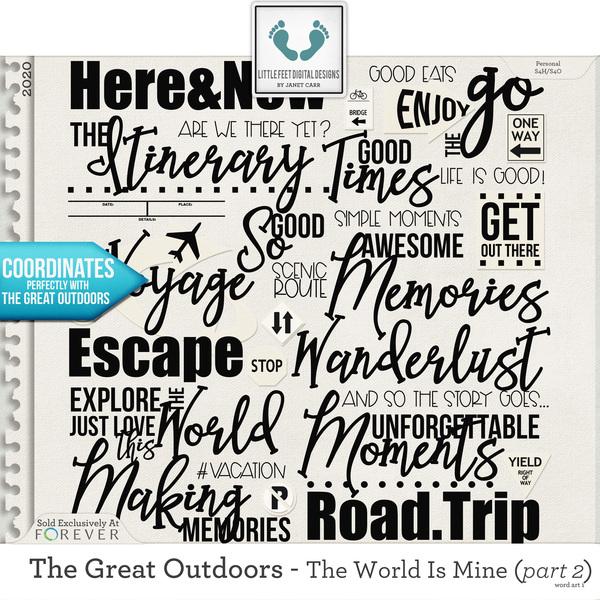 The Great Outdoors - The World Is Mine - Part 2 Word Art 1 Digital Art - Digital Scrapbooking Kits
