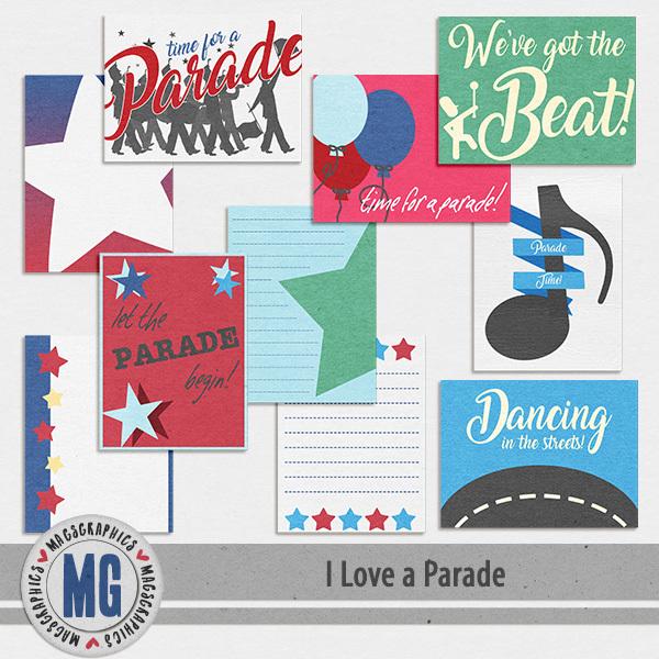 I Love A Parade Journal Cards Digital Art - Digital Scrapbooking Kits