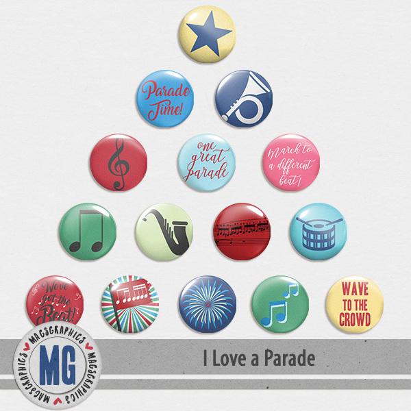 I Love A Parade Flair Digital Art - Digital Scrapbooking Kits