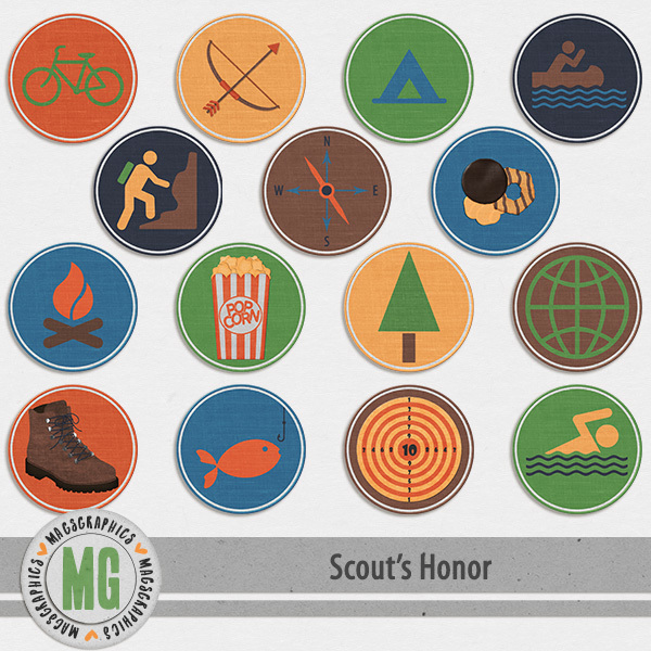 Scout's Honor Badges Digital Art - Digital Scrapbooking Kits