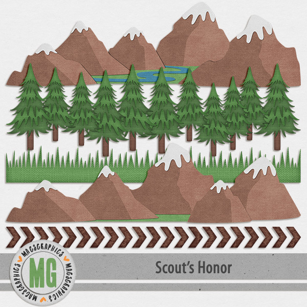 Scout's Honor Borders Digital Art - Digital Scrapbooking Kits