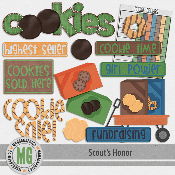 Scout's Honor Cookie Pack Digital Art - Digital Scrapbooking Kits