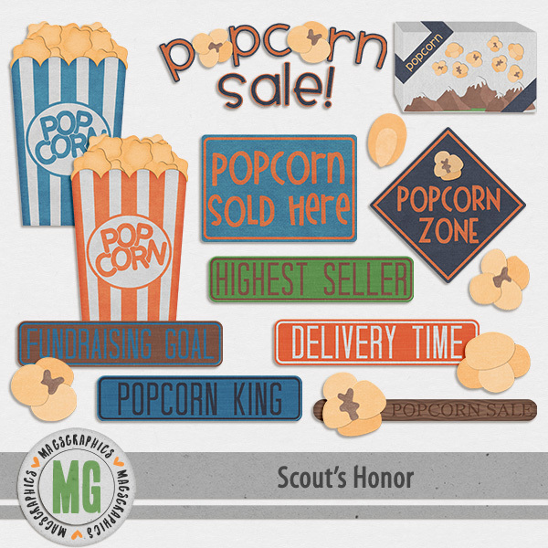 Scout's Honor Popcorn Pack Digital Art - Digital Scrapbooking Kits