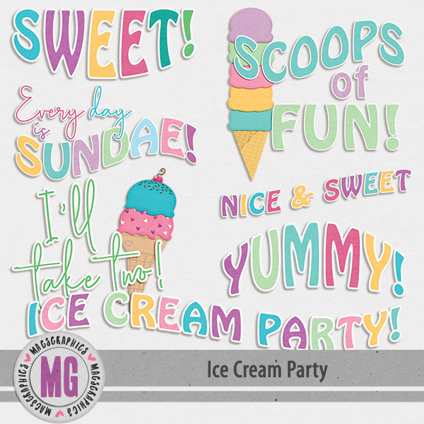 Ice Cream Party Word Art Digital Art - Digital Scrapbooking Kits