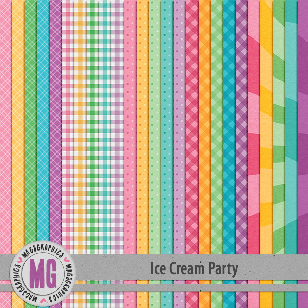 Ice Cream Party Extra Papers Digital Art - Digital Scrapbooking Kits