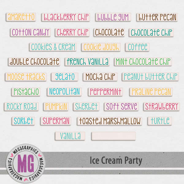 Ice Cream Party Flavors Digital Art - Digital Scrapbooking Kits