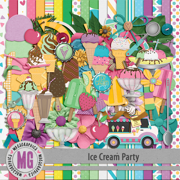 Ice Cream Party Kit Digital Art - Digital Scrapbooking Kits