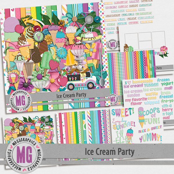 Ice Cream Party Bundle Digital Art - Digital Scrapbooking Kits