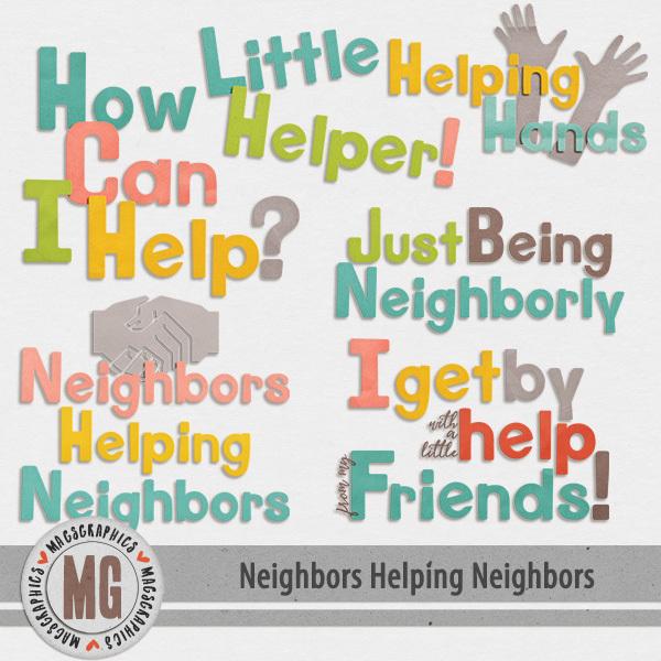 Neighbors Helping Neighbors Word Art Digital Art - Digital Scrapbooking Kits