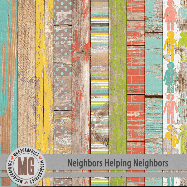 Neighbors Helping Neighbors Wood Papers Digital Art - Digital Scrapbooking Kits