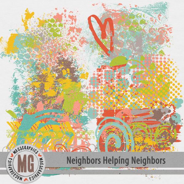 Neighbors Helping Neighbors Hodge Podge Digital Art - Digital Scrapbooking Kits