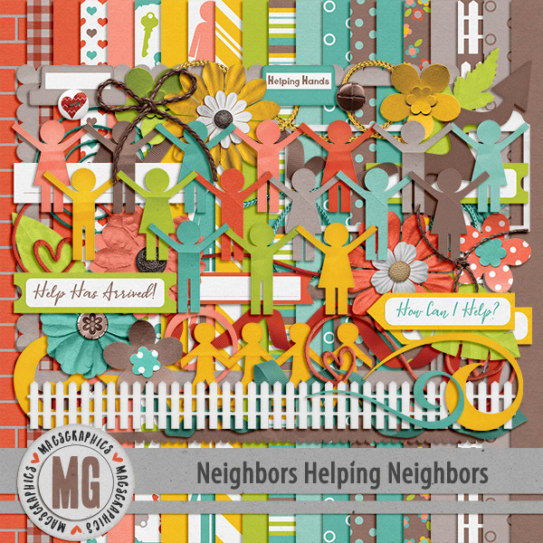 Neighbors Helping Neighbors Kit Digital Art - Digital Scrapbooking Kits