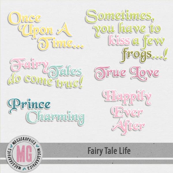 Fairy Tale Life Word Art Digital Art - Digital Scrapbooking Kits