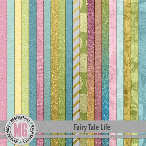 Fairy Tale Life Extra Papers Digital Art - Digital Scrapbooking Kits