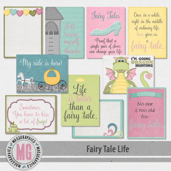 Fairy Tale Life Journal Cards Digital Art - Digital Scrapbooking Kits