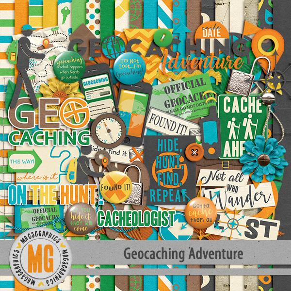Geocaching Adventure Kit Digital Art - Digital Scrapbooking Kits