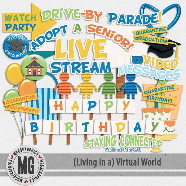 Virtual World Celebration Pack Digital Art - Digital Scrapbooking Kits