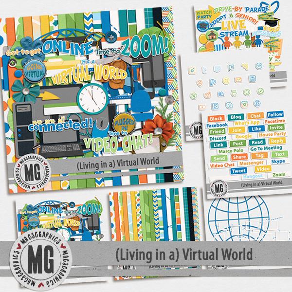 Virtual World Bundle Digital Art - Digital Scrapbooking Kits