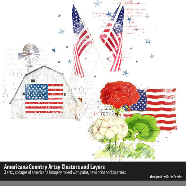 Americana Country Artsy Clusters and Layers Digital Art - Digital Scrapbooking Kits