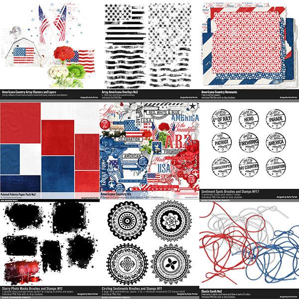 Americana Country Scrapbook Bundle Digital Art - Digital Scrapbooking Kits