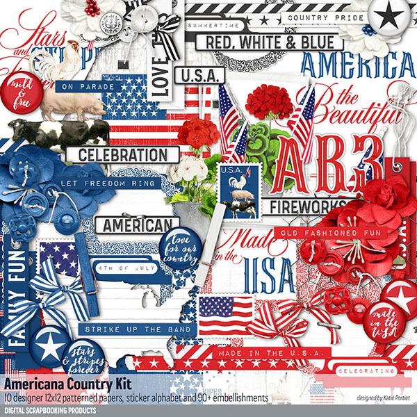 Americana Country Scrapbooking Kit Digital Art - Digital Scrapbooking Kits