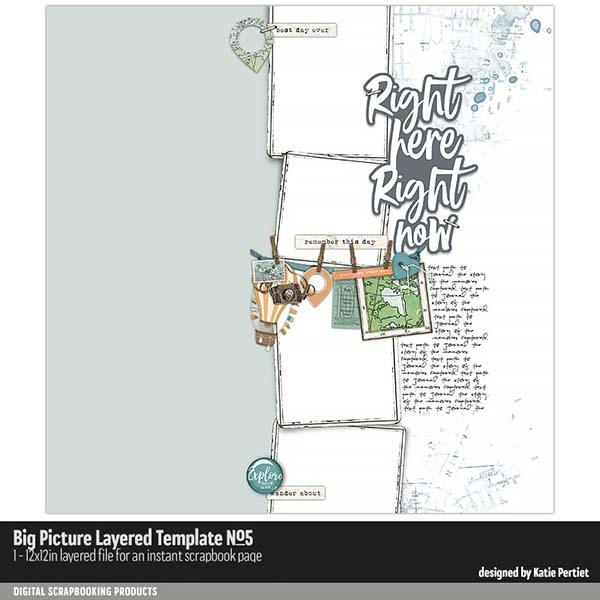 Big Picture Layered Templates 05 Digital Art - Digital Scrapbooking Kits