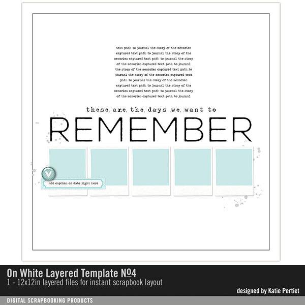 On White Layered Template 04 Digital Art - Digital Scrapbooking Kits