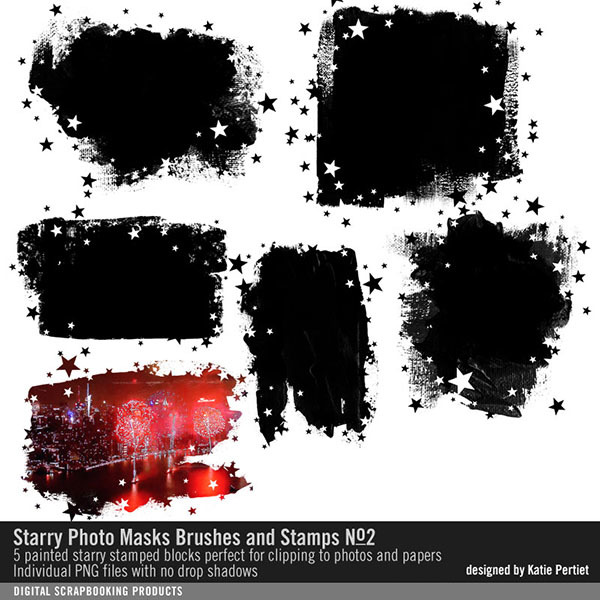 Starry Photo Masks Brushes and Stamps 02 Digital Art - Digital Scrapbooking Kits