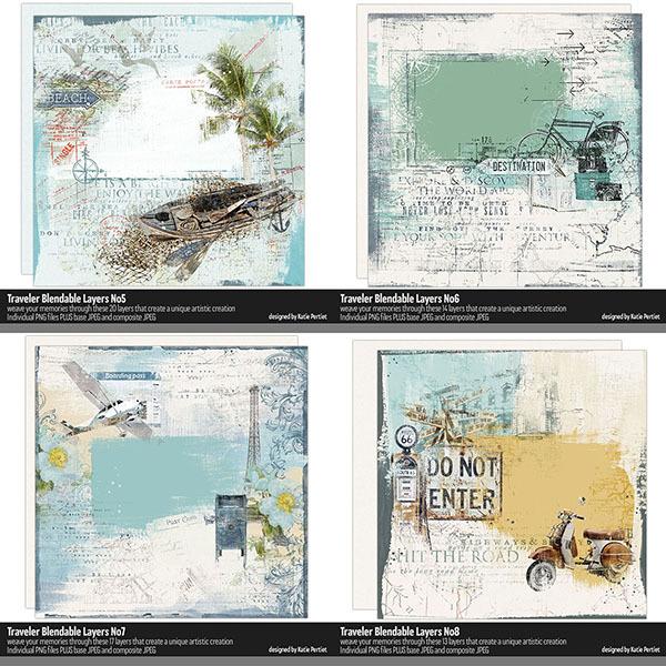 Traveler Blendable Layers Bundle 02 Digital Art - Digital Scrapbooking Kits