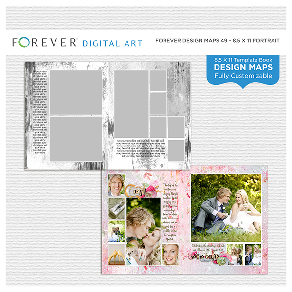 Forever Design Maps 49 - 8.5x11 Digital Art - Digital Scrapbooking Kits