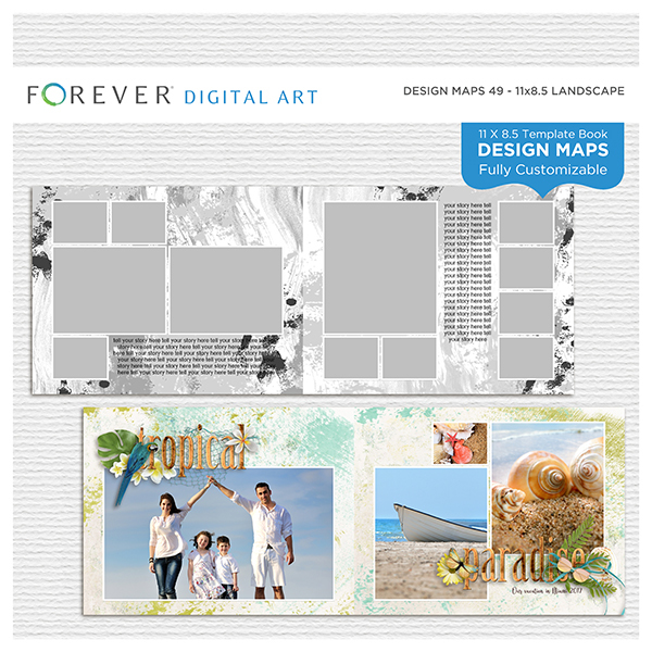 Forever Design Maps 49 - 11x8.5 Digital Art - Digital Scrapbooking Kits